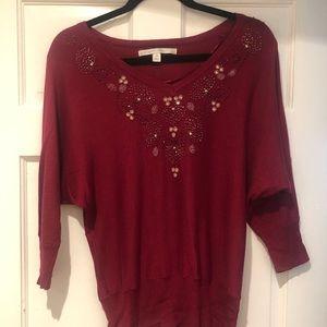 Maroon Lauren Conrad Beaded Sweater